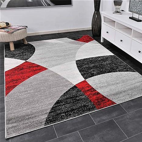 Vimoda Tapis De Salon Rouge Motif Cercles Geometriques Gris Blanc