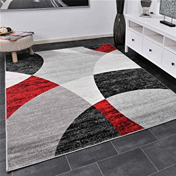 VIMODA Roter Teppich Wohnzimmer Schlafzimmer Geometrisches ...