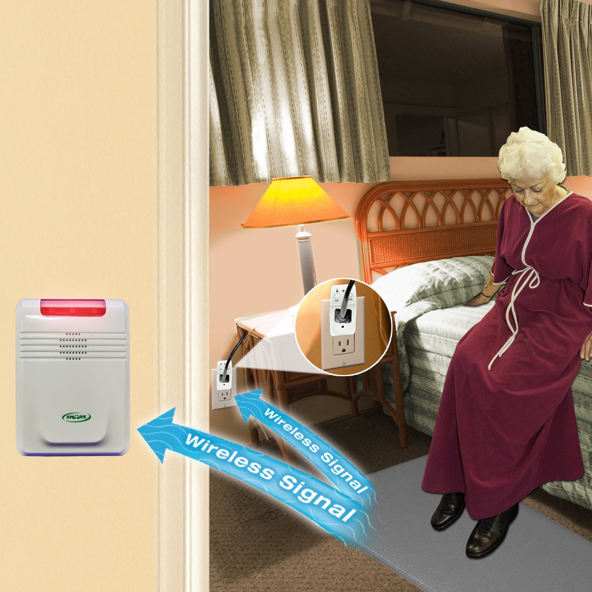 Smart Caregiver® Light Outlet with Cordless Grey Floor Mat and Cordless Alarm - Turns on a light when they get up and alerts a caregiver in another room!
