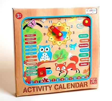Calendario Legno Bambini.Il Mio Primo In Legno Calendario Orologio Bambini Imparare Giocattolo Educativo Da Parete Calendario