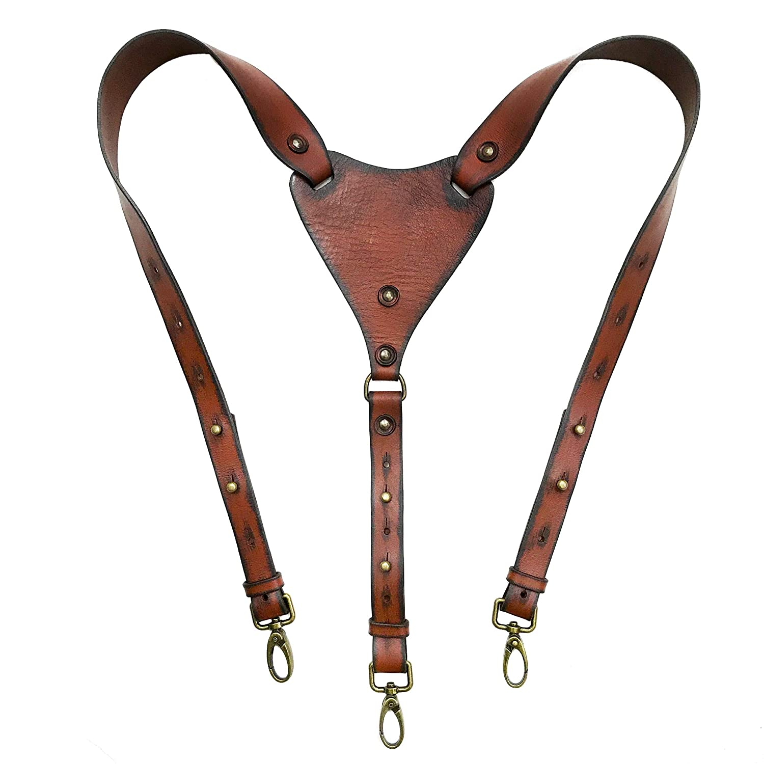 Brown Leather Suspenders Women Braces Fashion Leather Accessories for Women Custom Made to Your Size