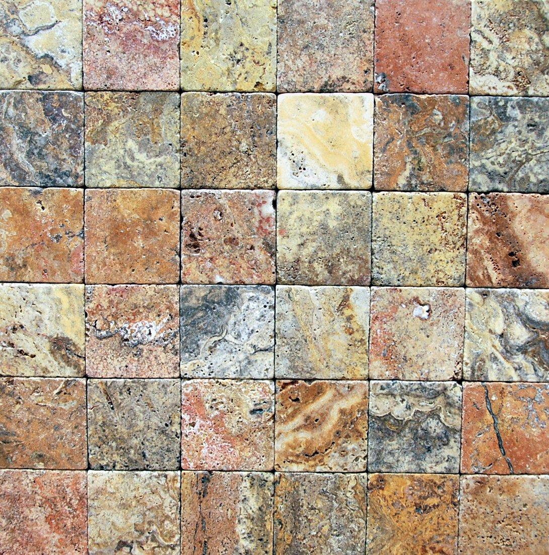 Scabos Travertine 12 X 12 Tile Tumbled 2 pcs 3 X 6 Sample