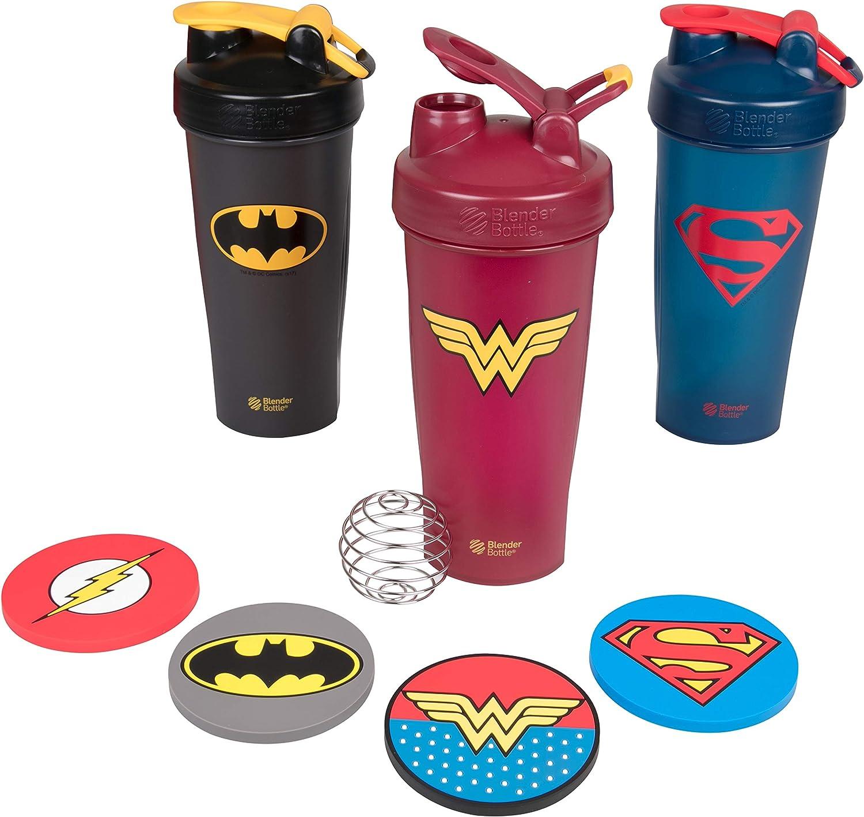 BlenderBottle DC Justice League Superhero Bottles and Coaster Set - Superman, Wonder Woman, Batman - Classic 28 oz Blender Bottle