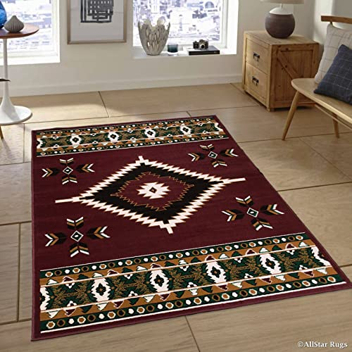 Allstar 8×11 Burgundy and Mocha Southwestern Rectangular Accent Rug with Ivory, Espresso and Hunter Green Aztec Design 7 5 x 10 5
