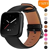 Mosstek Genuine Leather Bands Compatible with Fitbit Versa 2 & Versa 1 & Versa Lite & Versa Special, Genuine Leather Band Replacement Strap for Versa Women Men - Black