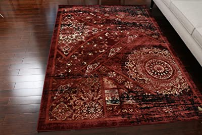 Feraghan Dusty red Salmon Traditional Antique Isfahan Wool Persian Area Rugs Rug 4023red 2'2 x 3 Door Mat