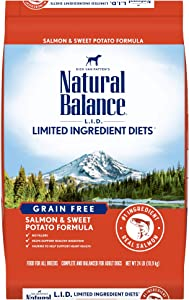 Natural Balance L.I.D. Limited Ingredient Diets Dry Dog Food, Salmon & Sweet Potato Formula, 24 Pounds, Grain Free