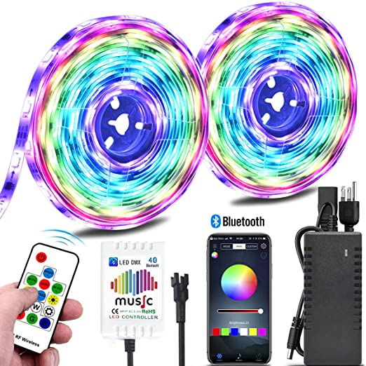 Amazon.com: Color Chasing Music LED Strip Light Kit, 10M ...