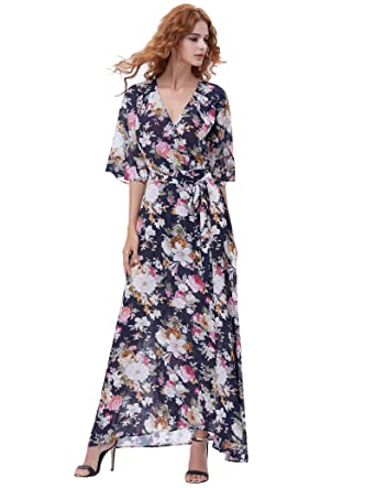 2df2c131cd66 Kate Kasin Vintage Floral Beach Dress Long Maxi Dress (Blue and White Flower  S)