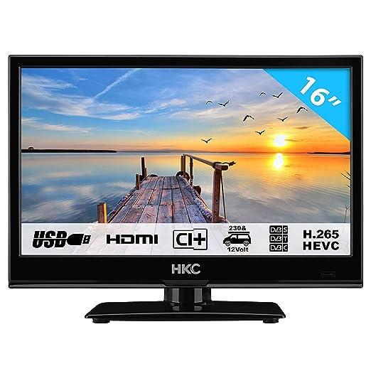 HKC 16M4: 39,6 cm (16 Zoll) LED-Fernseher (HD-Ready, Triple Tuner, CI+, Mediaplayer USB 2.0, 12V Kfz-Ladegerät) [Energieklass