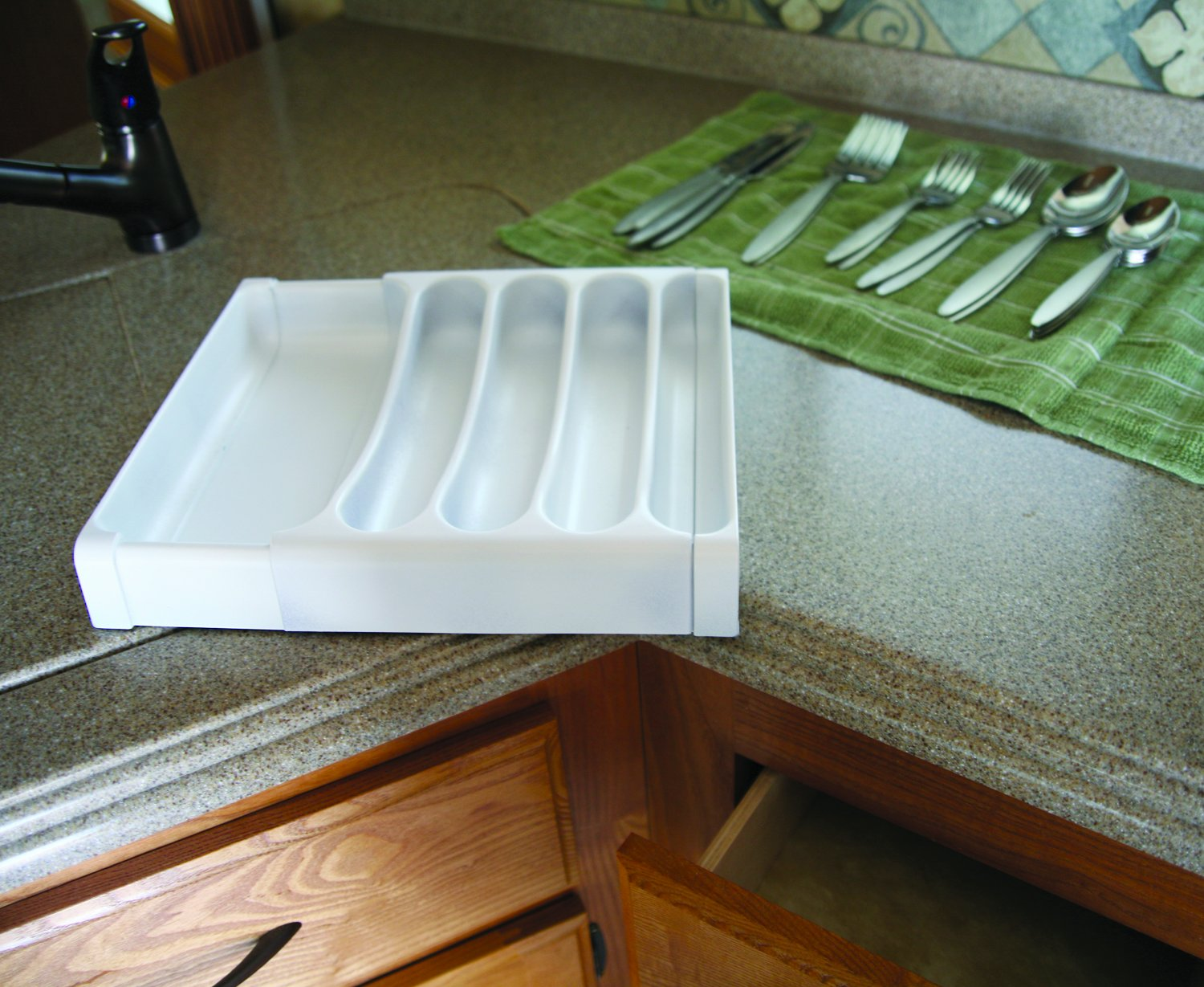 Camco 43508 White Cutlery Tray