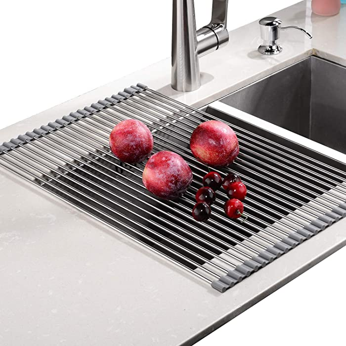 "EMBATHER Over the Sink Multipurpose -No Occupying Space Easily Store Heat Resistant Roll Up Dish Drying Rack AND FREE Silicone Mesh ---Fit for Stainless Steel Sink(Size:20.8"""" x 13.4"""",Warm Gray)"