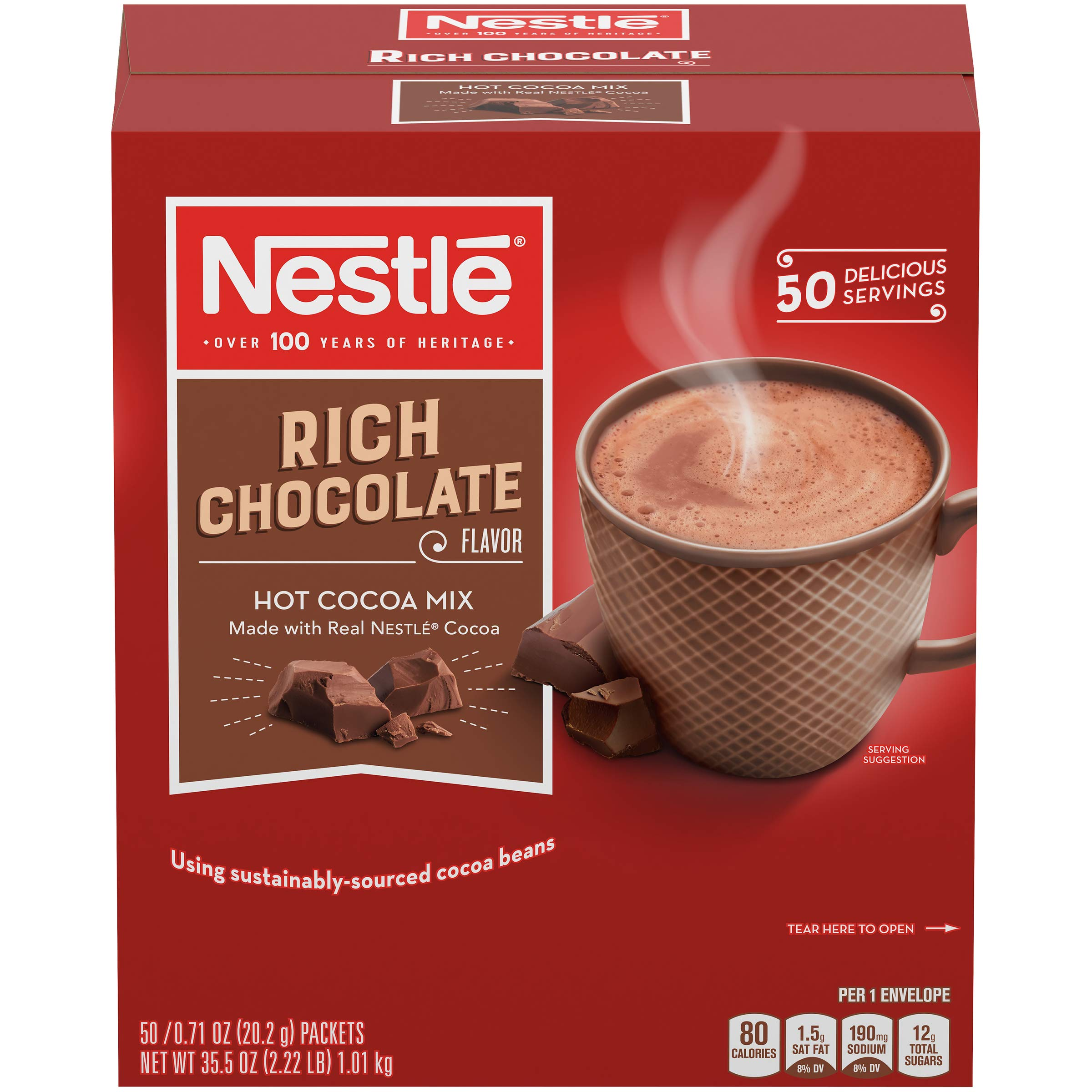 Nestle Hot Cocoa Mix, Rich Chocolate, 50 Count, Rich hot chocolate, Premium hot chocolate, single serve, individual sachets