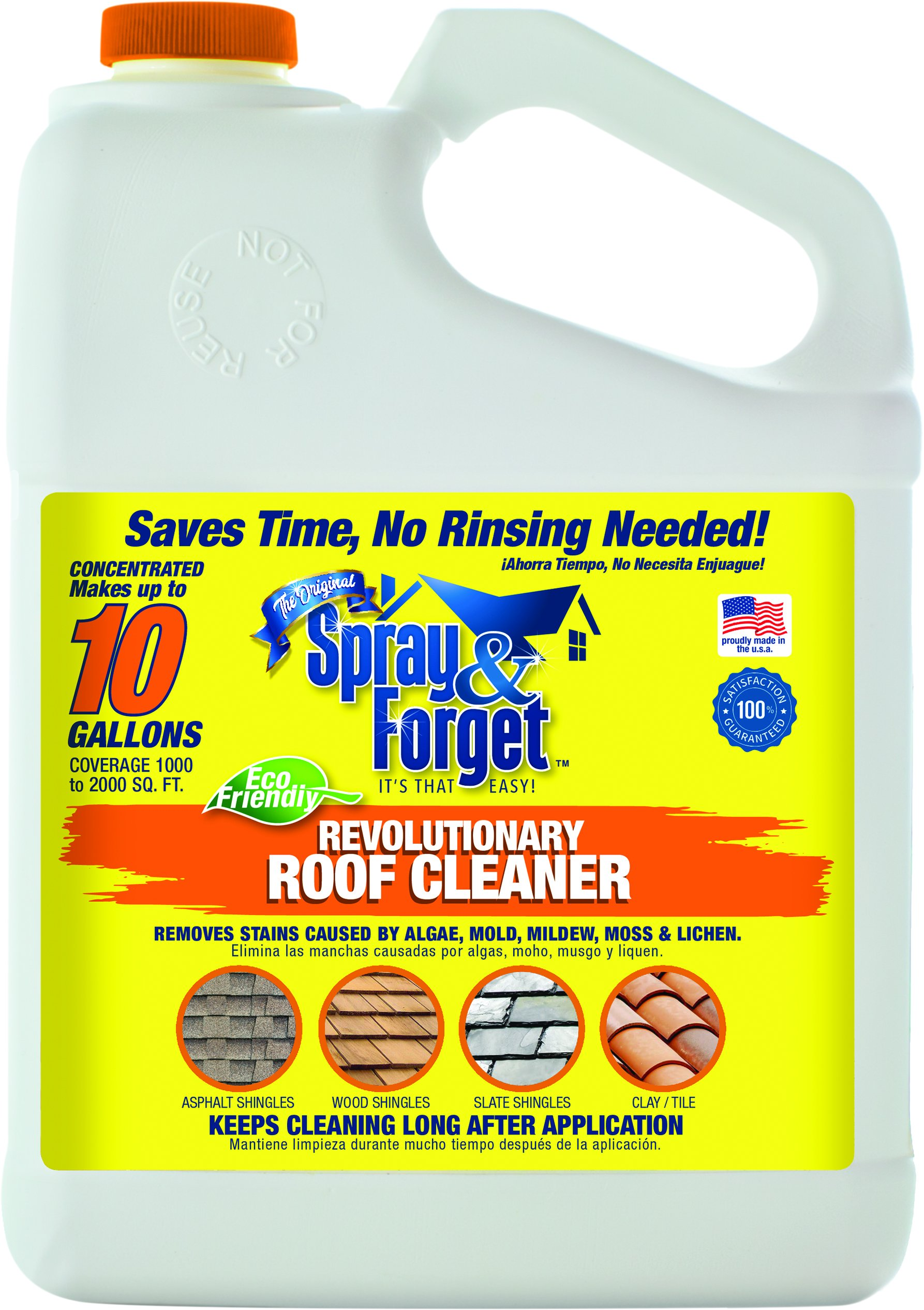 Spray & Forget Revolutionary Roof Cleaner Concentrate, 1 Gallon Bottle, 2 Count, Outdoor Cleaner, Mold Remover, Mildew Remover