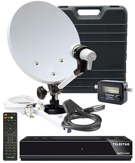 Telestar 5103328 Camping-Sat-Komplett-Anlage digiSD 5 mobil (Receiver, 35 cm (13,7 Zoll)Spiegel, Single-LNB, Kompass, Sat-Fin