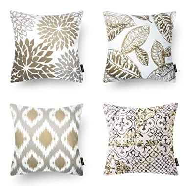 Phantoscope Set of 4 New Living Series Coffee Color Decorative Throw Pillow Case Cushion Cover 18  x 18  45cm x 45cm