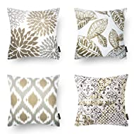 "Phantoscope Set of 4 New Living Series Coffee Color Decorative Throw Pillow Case Cushion Cover 18"" x 18"" 45cm x 45cm"