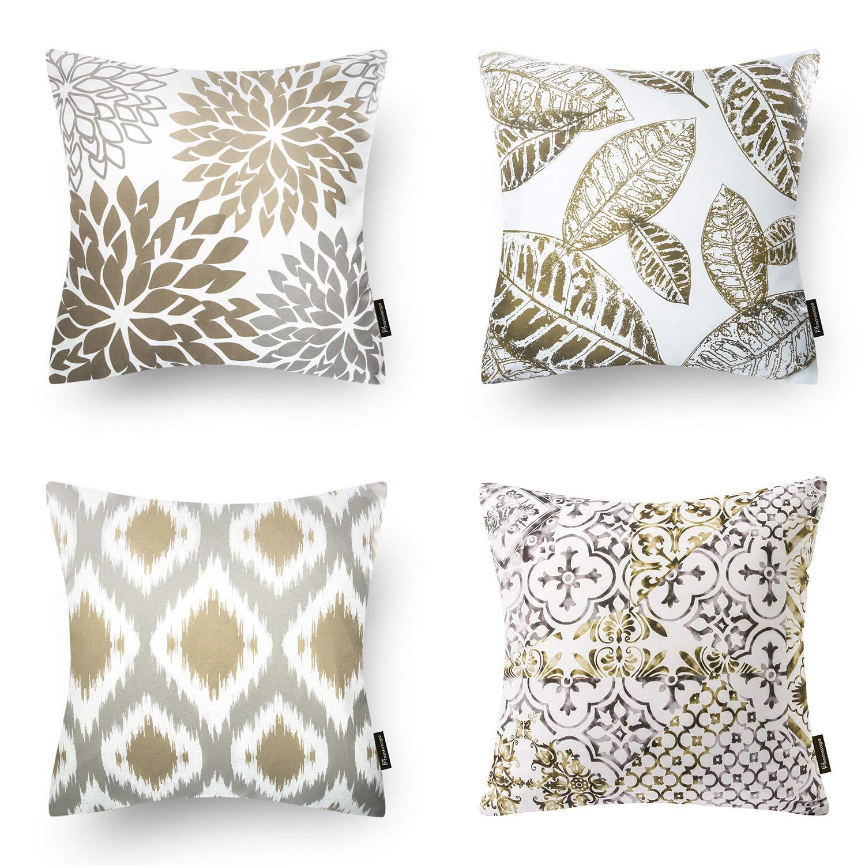 Phantoscope Set of 4 New Living Series Coffee Color Decorative Throw Pillow Case Cushion Cover 18'' x 18'' 45cm x 45cm