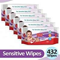 LuvLap Baby Sensitive Wipes, Fragrance Free, 72 Wipes, Pack of 6 Combo