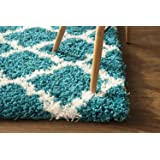 Super Area Rugs Moroccan Trellis Cozy Shag Rug for Home Decor 5' x 7', Turquoise & White
