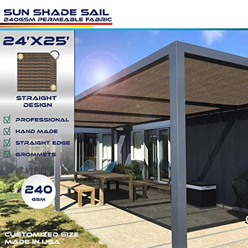 Windscreen4less Straight Edge Sun Shade Sail,Rectangle Heavy Duty 240GSM Outdoor Shade Cloth Pergola Cover UV Block Fabric – Custom Size Brown 24 X 25