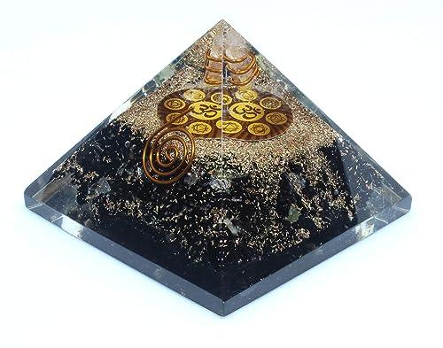 Orgone Pyramid – Black Tourmaline Crystal for Orgone Energy Generator – Orgonite Pyramids for Emf Protection – Healing Crystal – Chakra Crystal – Chakra Om Symbol for Meditation – By Agate Jewelry