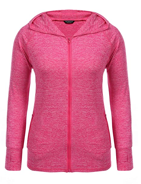 INVOLAND Womens Plus Size Hoodie Sweatshirts Lightweight Full-Zip Running Sports Hooded Jackets Outdoor with Pockets