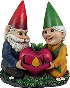 DWK - Watch Our Love Grow - Adorable Hand Painted Gnome Couple with Heart Shaped Love Root Vegetable Radish Home Patio & Garden Decor Accent, 7.75-inch