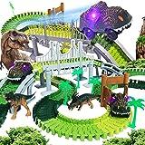 TEEMEE Dinosaur Toys Track Set 192 Pcs, Create a Dinosaur Racing Track, Flexible Track with 2 Magic Track Cars Toys for 3, 4,