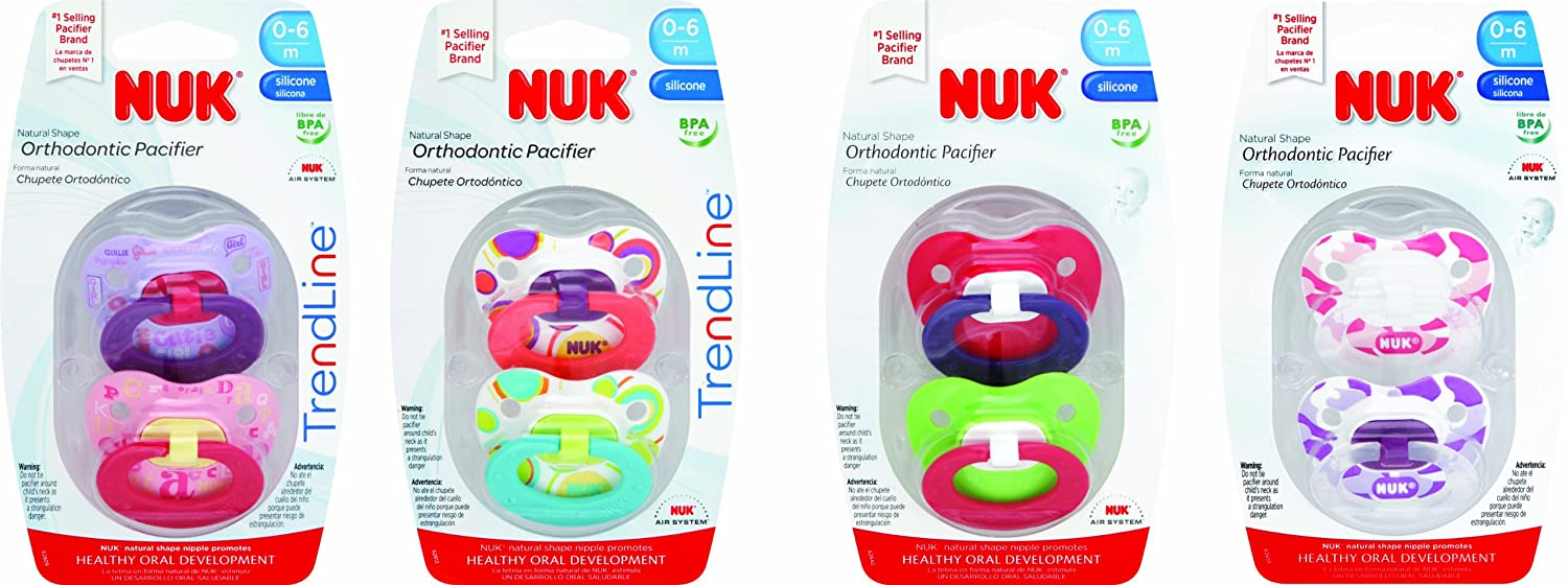 Nuk Silicone Pacifier, Pink/Purple, Size 1, 8-Count