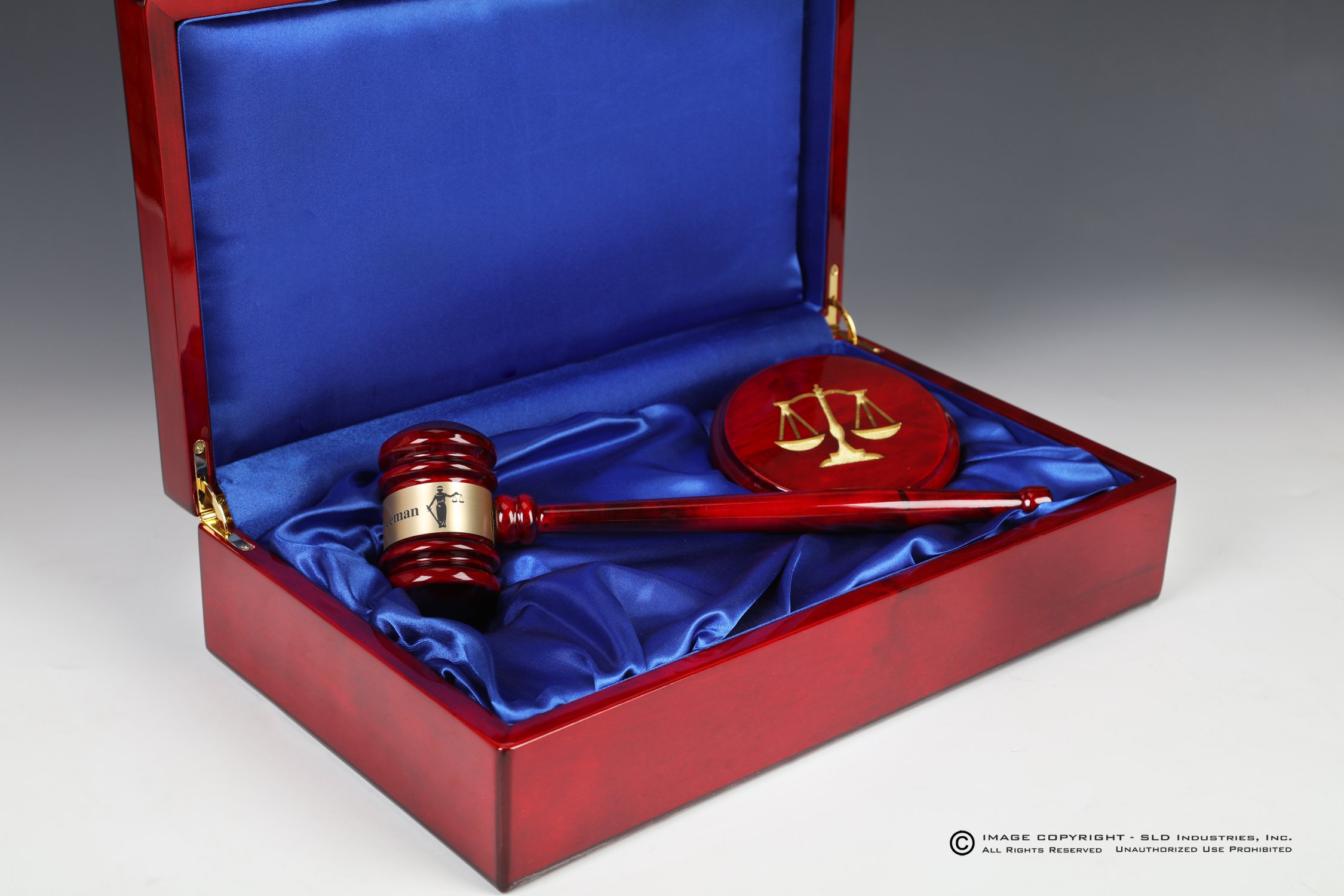 Gavel Gift Set Rosewood Piano Wood Presentation Box, Sounding Block Laser Engraved and Color Filled,and Engraved Plate on Box and Gavel Band, Lawyer Gift, Judge Gift, Mayor Gift, City Council