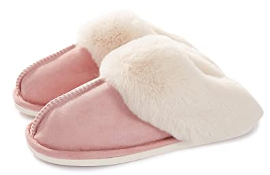 18950b15fd891 Womens Slippers Memory Foam Fluffy Warm Non-Slip Comfortable Slip-on House  Shoes Plush Indoor & Outdoor Winter