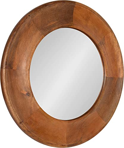 Kate and Laurel Alejandro Round Wood Wall Mirror, 30 Diameter, Walnut Brown, Chic Shabby-Chic Wall Accent