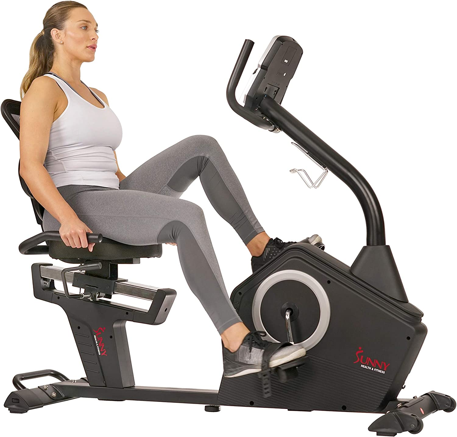 Sunny Health Fitness Magnetic Recumbent Exercise Bike with Large Soft Comfort Seat with Mesh Back, 12 Preset or Custom Workouts and Advanced Performance Monitor – SF-RB4850