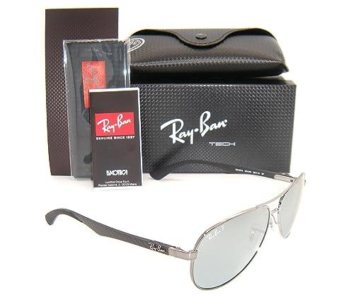 f60c53be2c Ray-Ban Carbon Fibre RB 8313 004 k6 58mm Shiny Gunmetal blue Mirror  Polarized  Amazon.ca  Jewelry