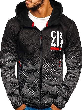 BOLF Sweatshirt à Capuche avec Fermeture éclair Camo Hoodie Homme 1A1