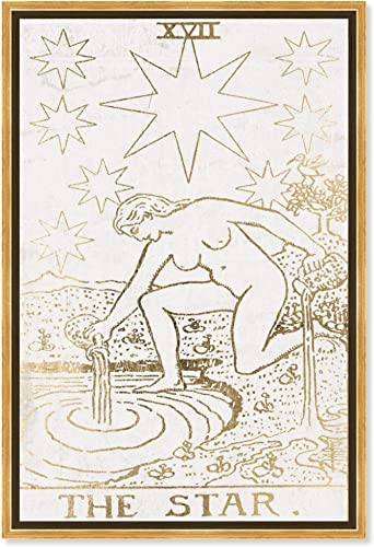 The Oliver Gal Artist Co. Spiritual and Religious Framed Wall Art Canvas Prints 'The Star Tarot Luxe' Zodiac Home D cor