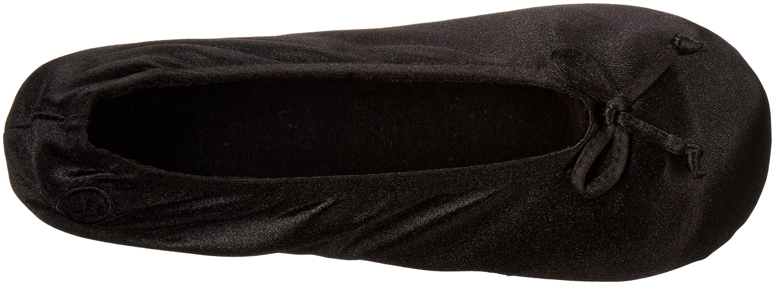 ISOTONER Women's Satin Ballerina Slipper, Black, Large/8-9 M US by ISOTONER (Image #10)