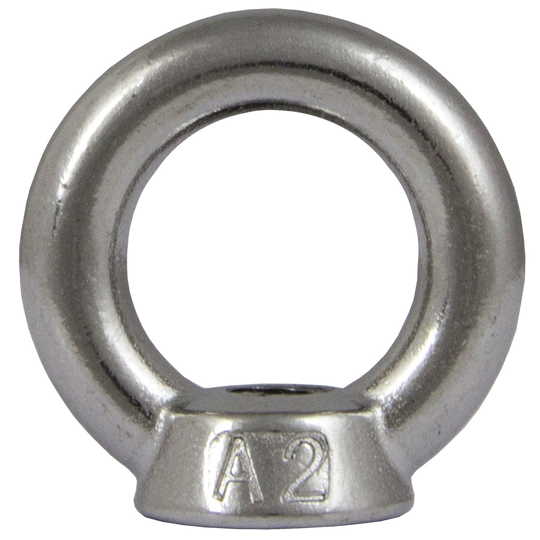 OPIOL QUALITY | Ringmuttern M6 gegossen und poliert ä hnl. DIN 582 (4 Stü ck) | Edelstahl A2 V2A | Mutter | Augmutter | Transportö se | Rostfrei