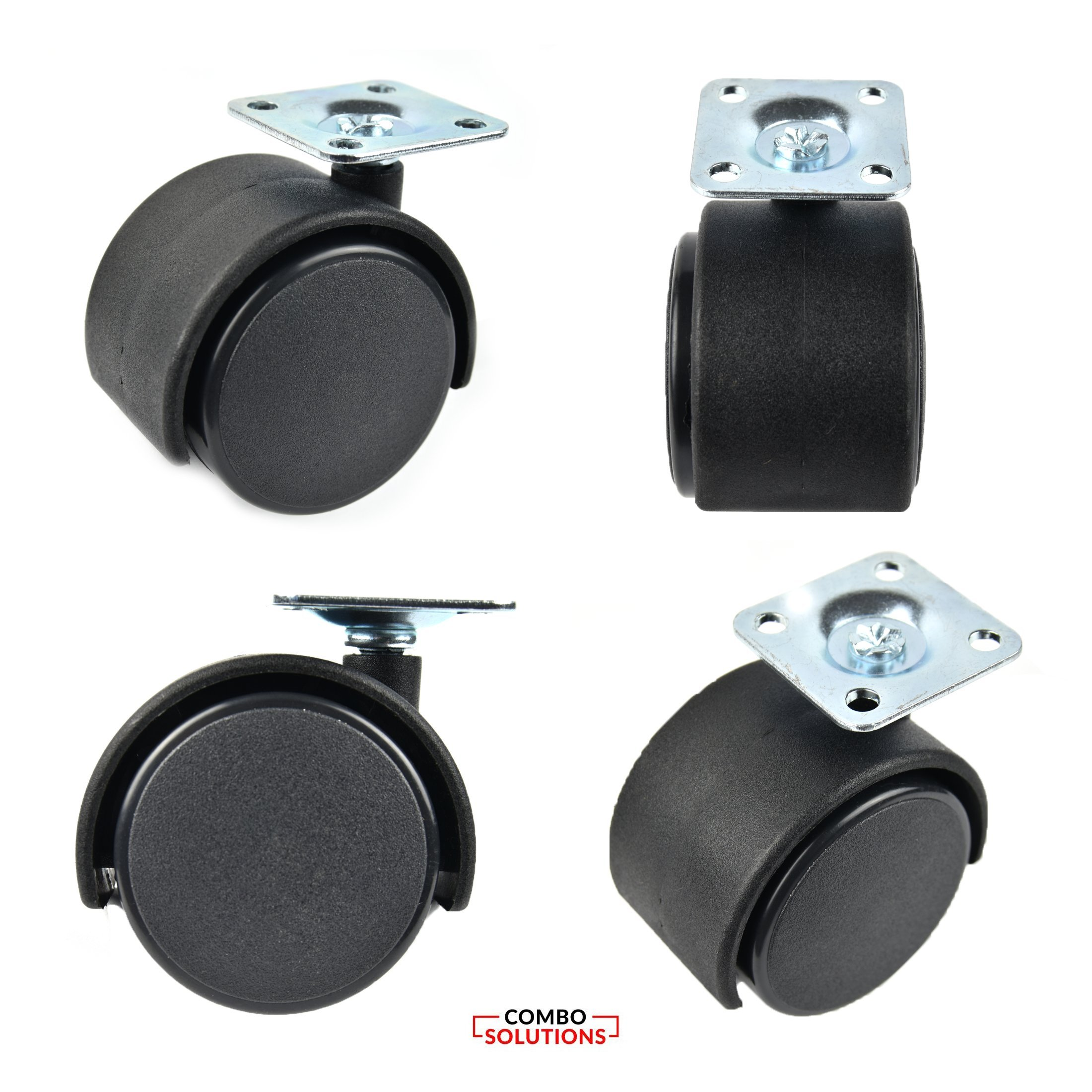 Set of 4-1.5'' Black Nylon Twin Wheel Swivel Plate Caster,280lbs. Load, 20 Screws Included by Combo Solutions