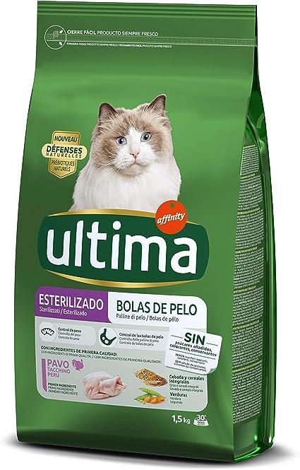 Ultima Pienso para Gatos Esterilizados Bolas de Pelo con Pavo ...