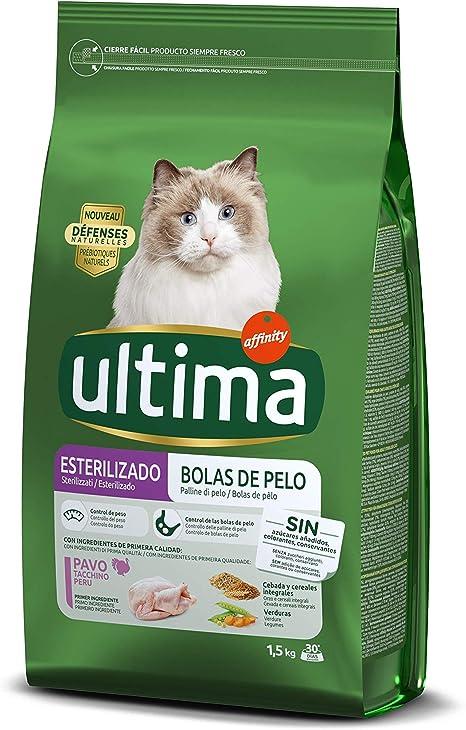 ultima Pienso para Gatos Esterilizados Bolas de Pelo con Pavo - 1500 gr: Amazon.es: Productos para mascotas