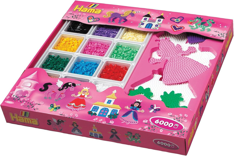 Hama - Caja Rosa 6000 Perlas + 5 Plantillas: Amazon.es: Juguetes y juegos