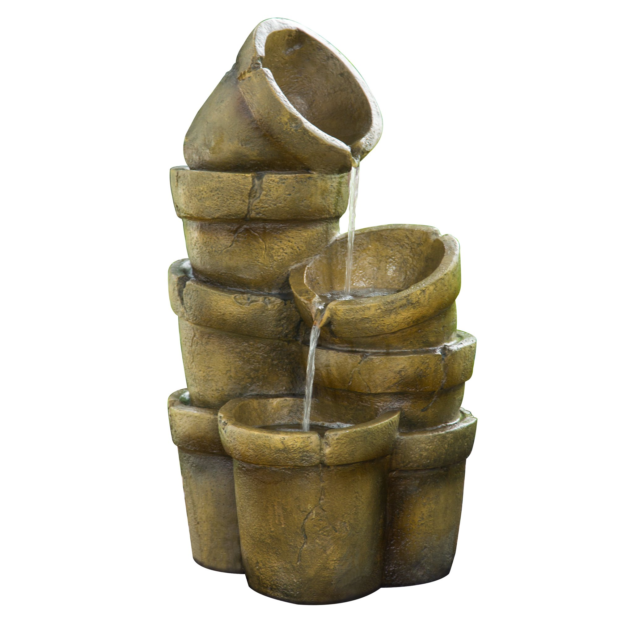 Peaktop Outdoor Stacked Pots Floor Fountain, 15'' x 17.7'' x 30.3''