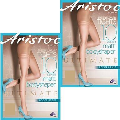d04686e4f4ffa9 Aristoc 10 Denier Ladder Resist Matt Body Shaper Tights (2 Pair Pack) (X