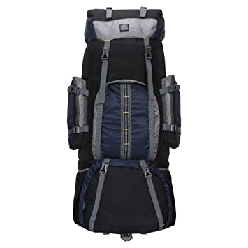 Alfisha Climate Proof Mountain Rucksack,Trekking Backpack 60Ltrs Navy & Grey with Rain Cover