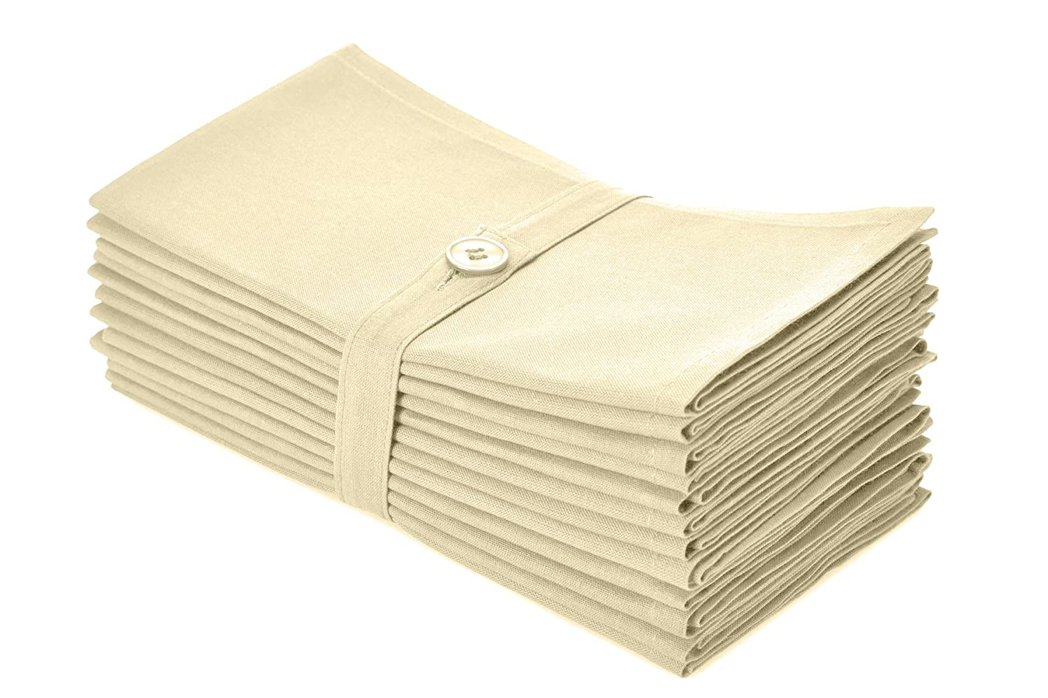 (Ivory) - Cotton Craft Napkins - 12 Pack Dinner Napkins - Ivory - 100% Cotton - Set contains 1 Dozen Ivory Napkins - Tailored with mitered corners and a generous hem - Napkins measure 50cm by 50cm - Our Napkins are 38% larger than standard size napkins ..  アイボリー B00IGB3P4S