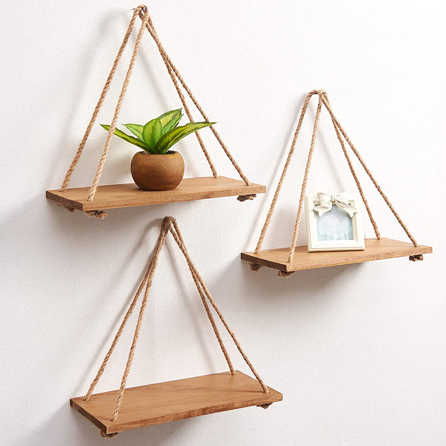 SAND MINE Set of 3 Wood Wall Hanging Shelf, Wood Floating Shelves, Hanging Swing Rope Shelves, Rustic Rope Hanging Shelves, Rustic Wall Decor Swing Shelf, Wall Display Shelves for Living Room Bedroom
