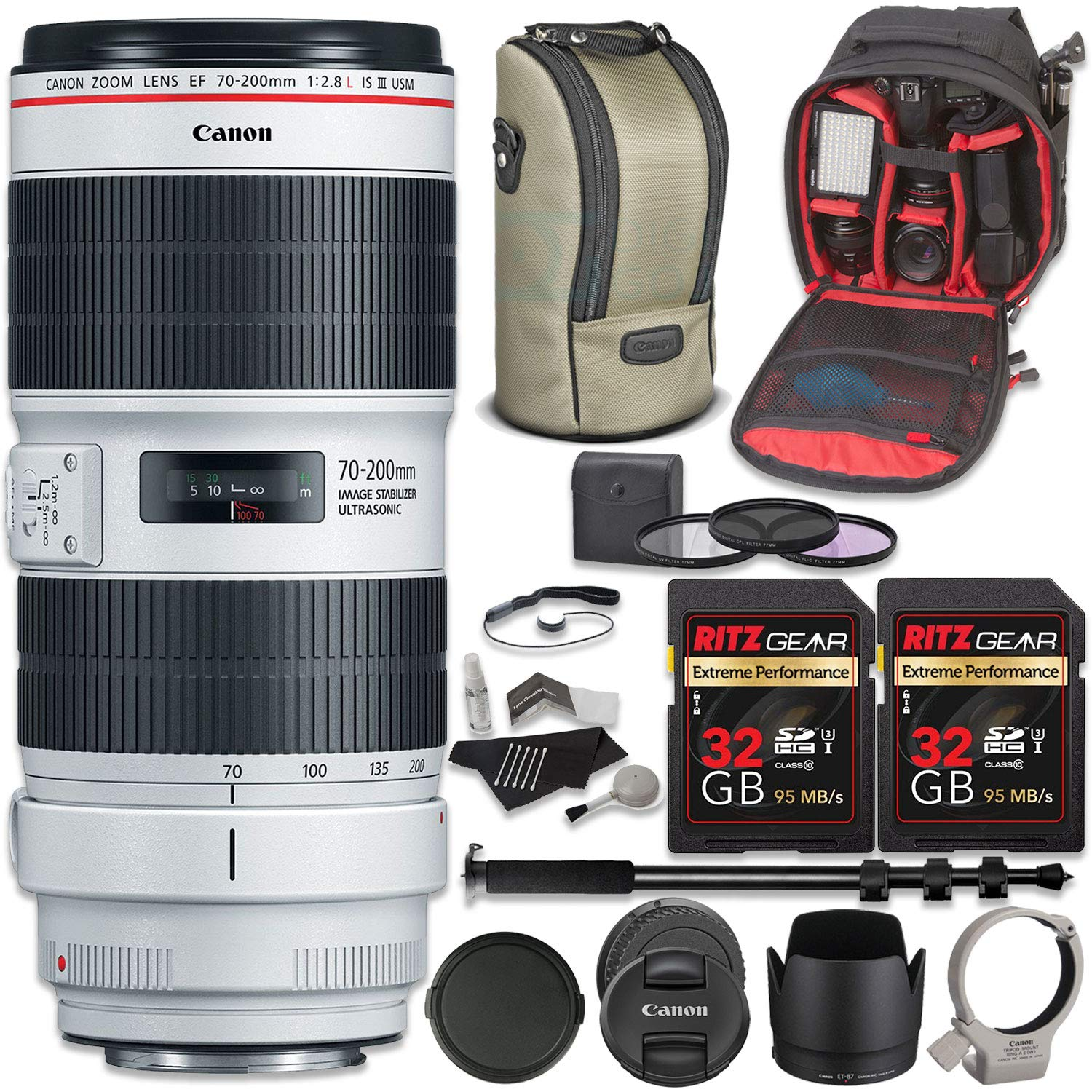 Amazon.com : Canon EF 70-200mm f/2.8L is III USM Lens Bundle with Two Ritz Gear 32GB U3 Extreme Pro SD Cards, Camera Backpack, Monopod, Filter Kit + More ...