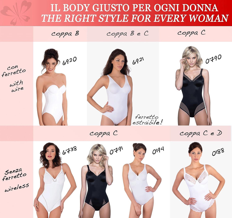 Lady Bella PA0194 Body Intimo Donna Contenitivo e Modellante Senza Ferretto Bretelle Larghe Coppa C e D Preformata Non Imbottita Tessuto Doppiato per Pancia Piatta ed Effetto Snellente